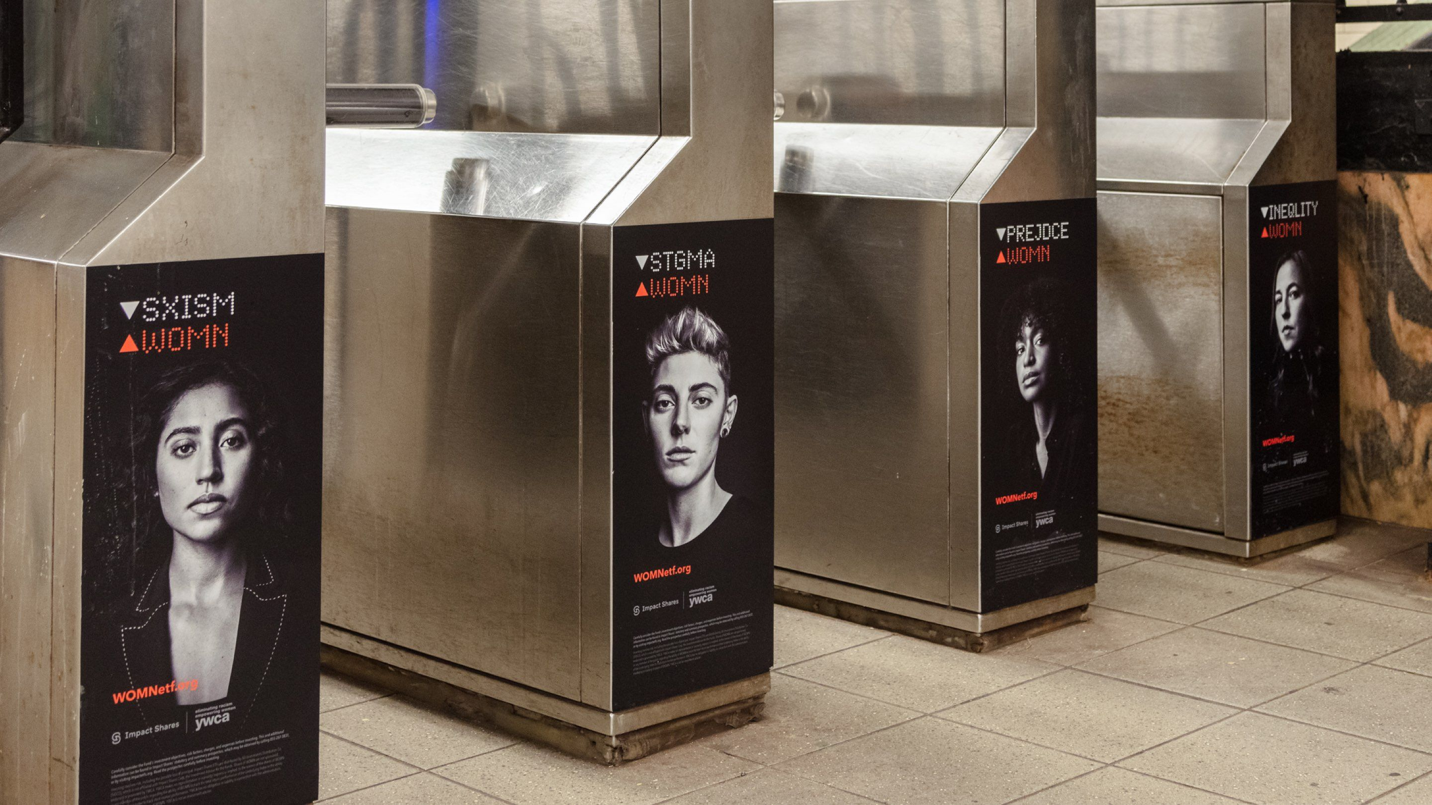 Subway turnstile covers for Impact Shares' WOMN campaign