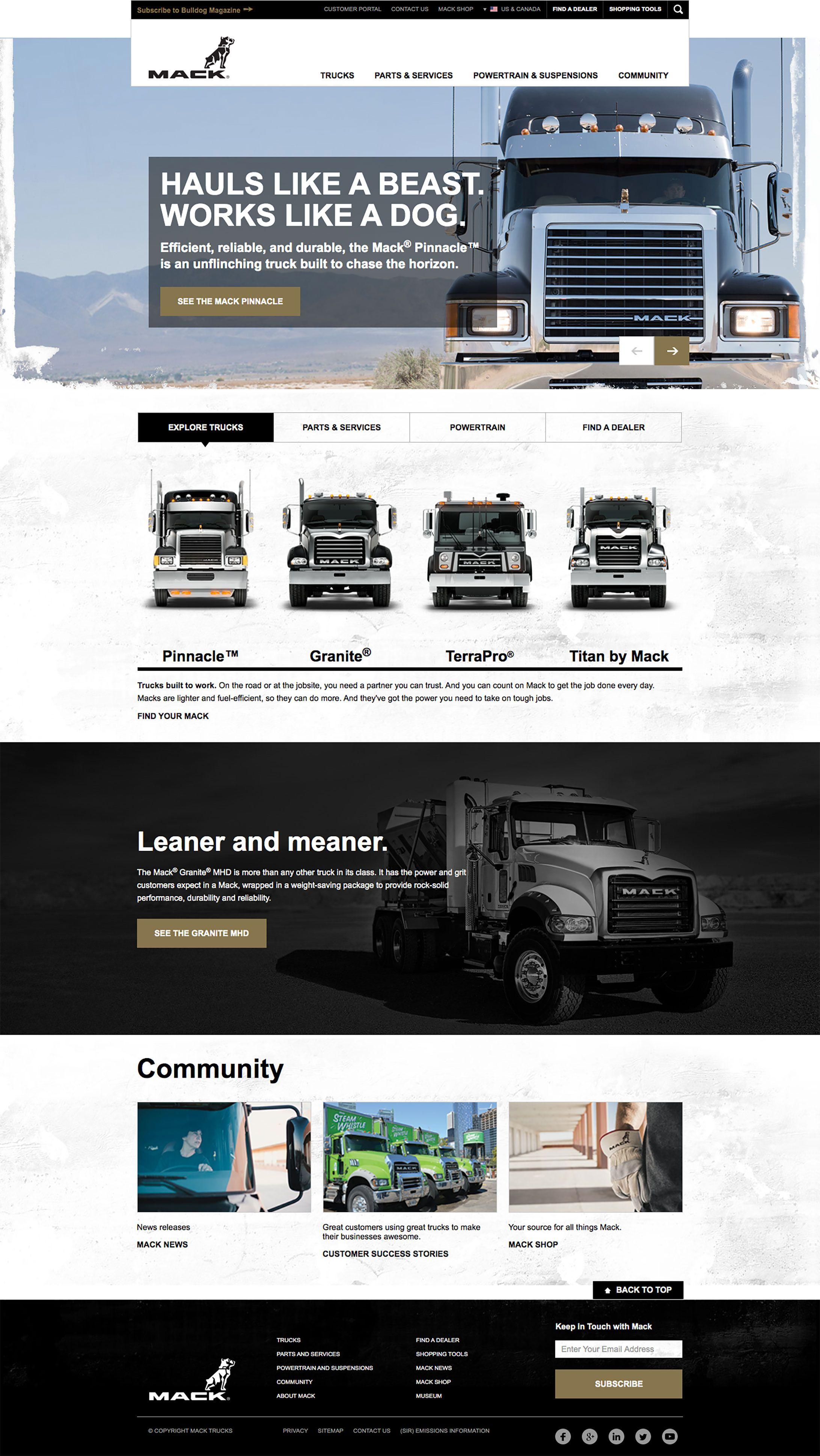 Mack Truck homepage display