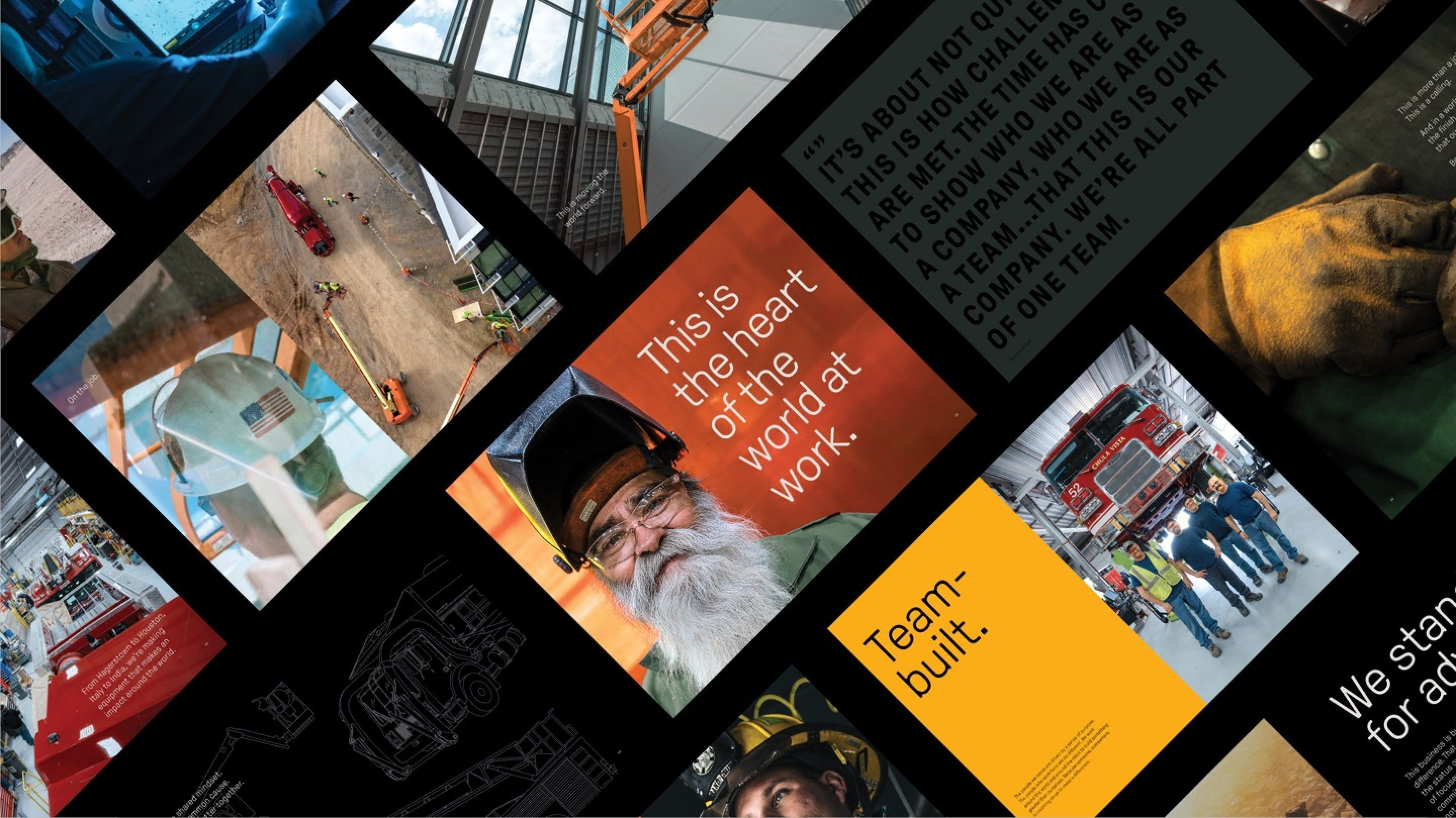 Oshkosh brand collage of messaging, imagery, and quotes
