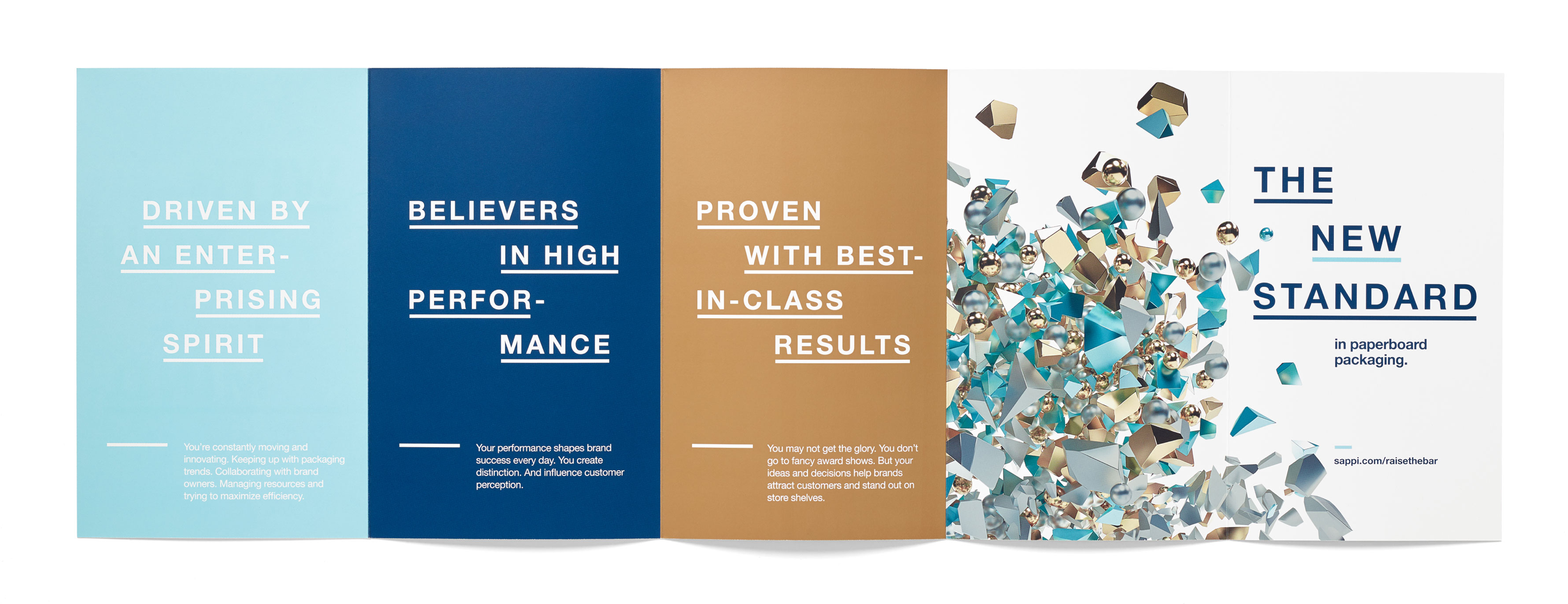 Brochure spread for Sappi packaging