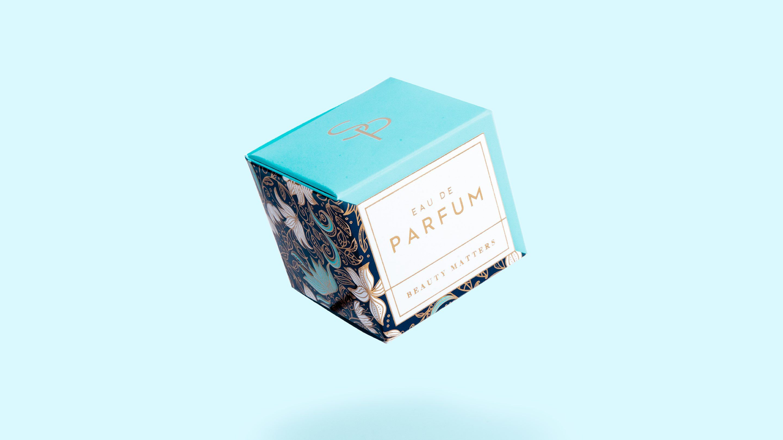 Sample perfume box for Sappi packaging