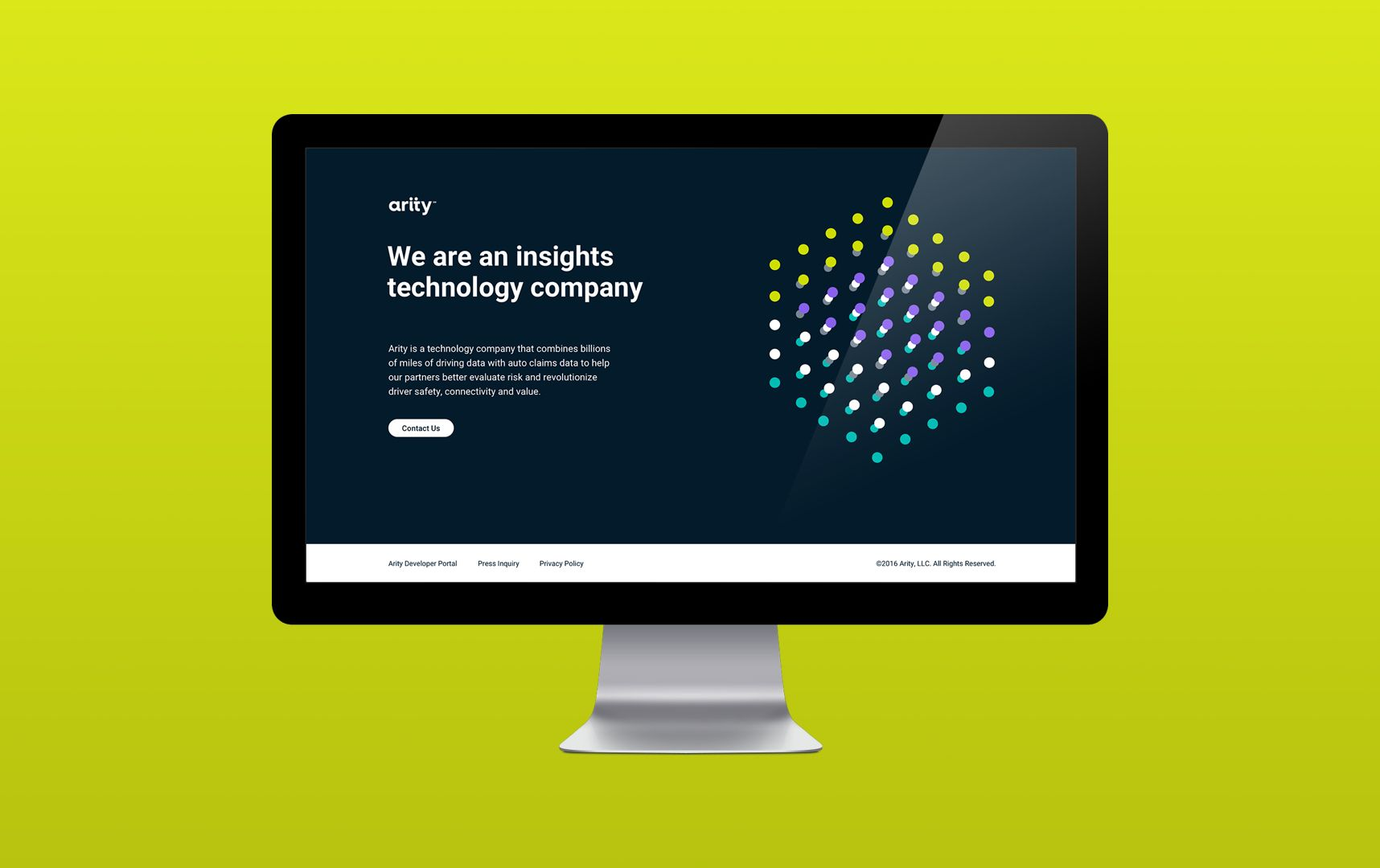 Arity website landing page design