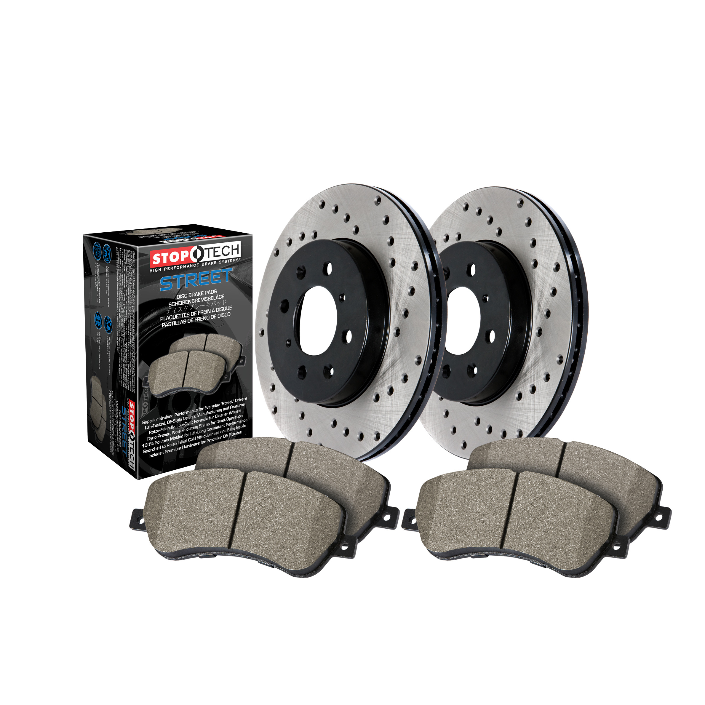 Rear Stoptech 939.66522 Street Axle Pack Drilled