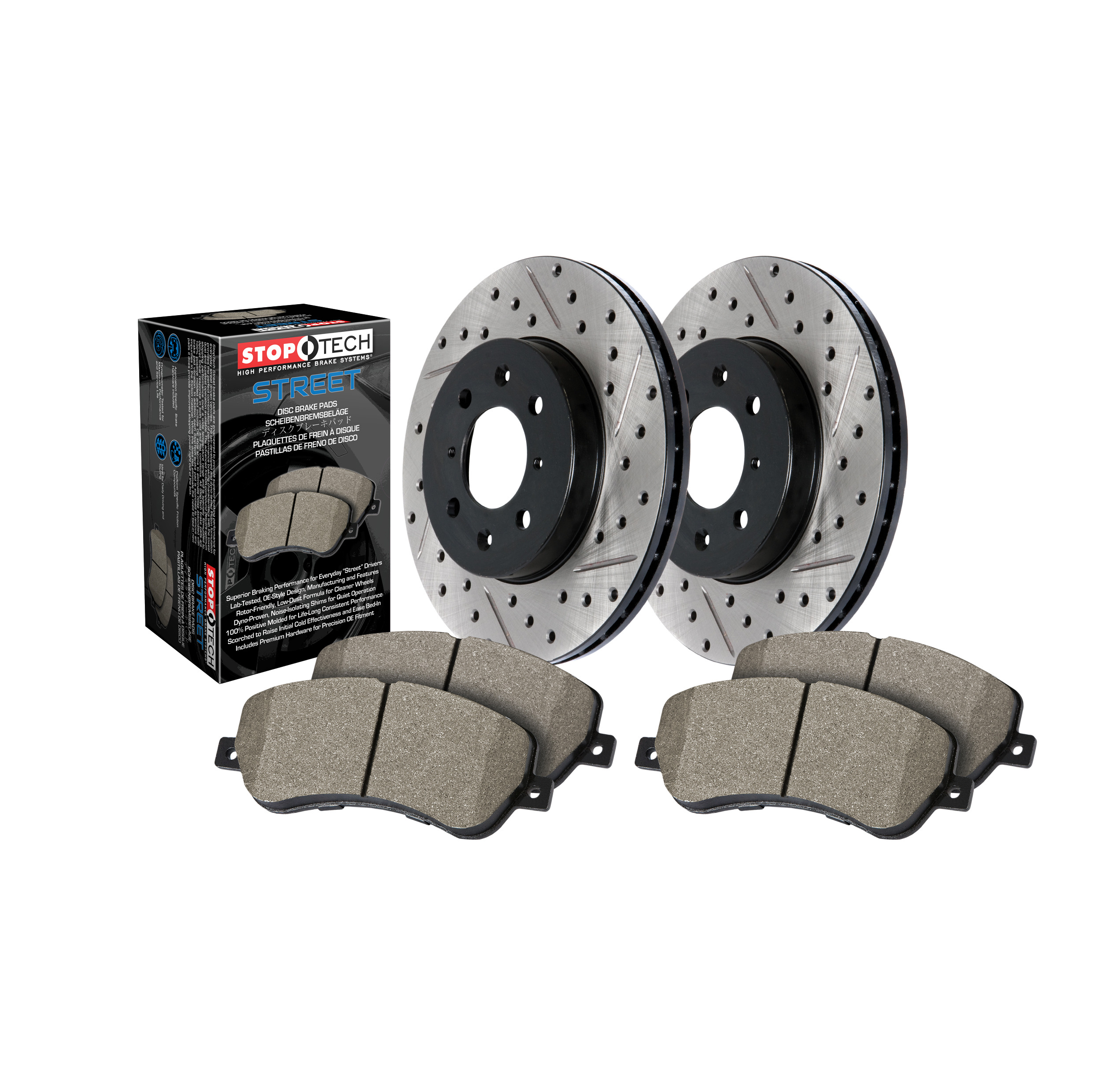 StopTech 308.16540 Street Brake Pads; Front with Shims and Hardware