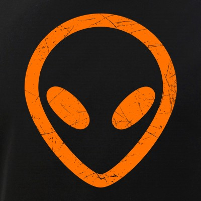 Bright Orange Distressed Alien Head