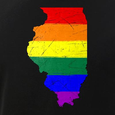 Illinois Silhouette LGBT Pride Flag