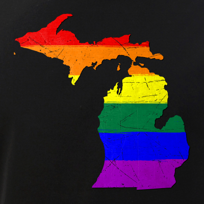 Michigan Silhouette LGBT Pride Flag
