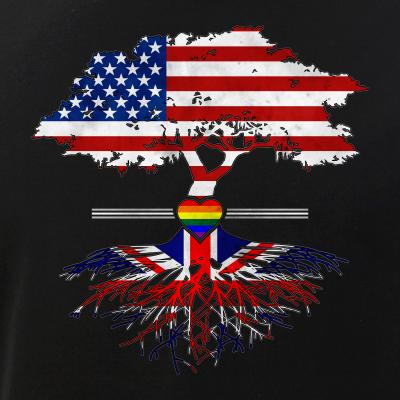 American Grown - British Roots - Gay Heart LGBT Pride