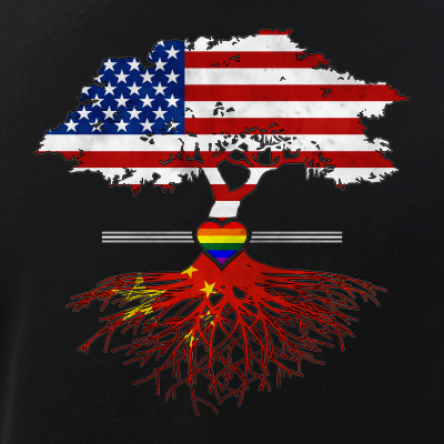 American Grown - Chinese Roots - Gay Heart LGBT Pride