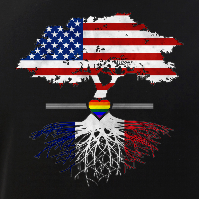 American Grown - French Roots - Gay Heart LGBT Pride