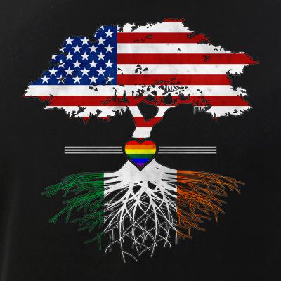 American Grown - Irish Roots - Gay Heart LGBT Pride