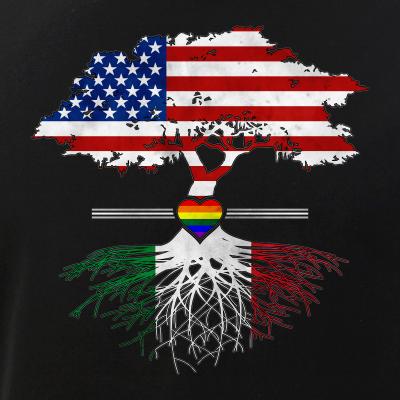 American Grown - Italian Roots - Gay Heart LGBT Pride