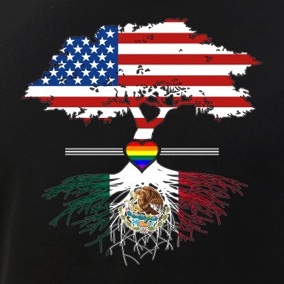 American Grown - Mexican Roots - Gay Heart LGBT Pride