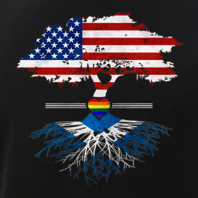 American Grown - Scottish Roots - Gay Heart LGBT Pride