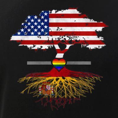 American Grown - Spanish Roots - Gay Heart LGBT Pride