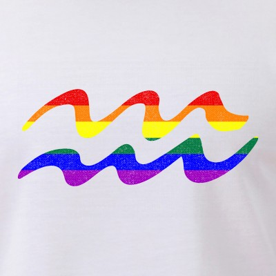 LGBT Gay Pride Flag Aquarius Zodiac Sign