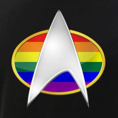 LGBTQ Rainbow Pride Flag TNG Combadge