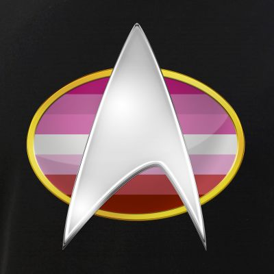 Lipstick Lesbian Pride Flag TNG Combadge