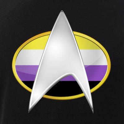 Nonbinary Pride Flag TNG Combadge