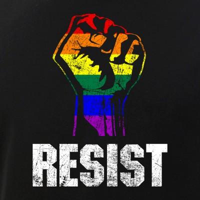 Gay Pride Flag Raised Fist Resist