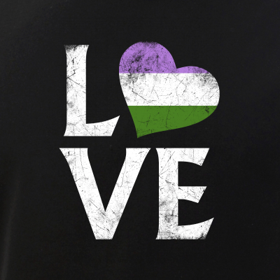 Genderqueer Pride Flag Heart Stacked Love