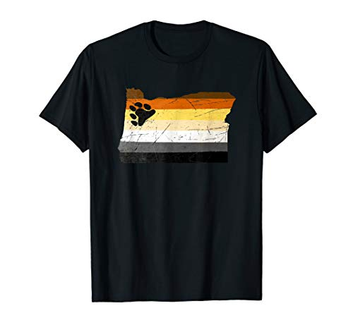 Oregon Silhouette Bear Pride Flag T-Shirt