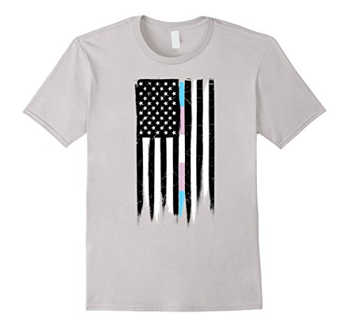 Transgender Pride Thin Line American Flag T-Shirt