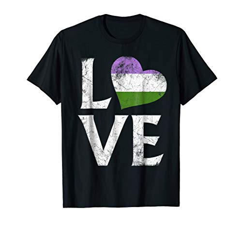 Genderqueer Pride Flag Heart Stacked Love T-Shirt