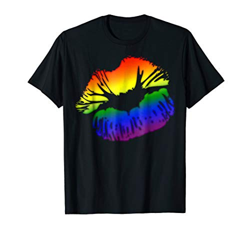 LGBT Love Rainbow Pride Kissing Lips T-Shirt