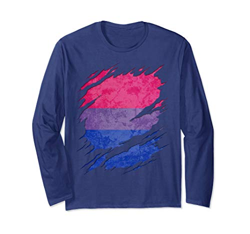Bisexual Pride Flag Ripped Long Sleeve T-Shirt