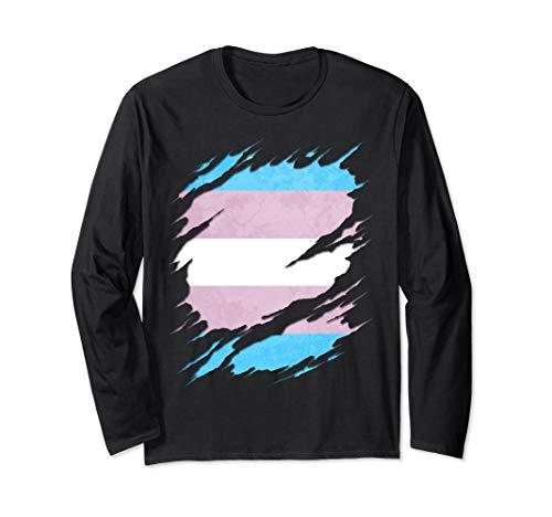Transgender Pride Flag Ripped Long Sleeve T-Shirt