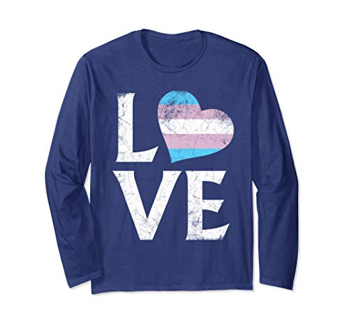 Transgender Pride Flag Heart Stacked Love Long SleeveT-Shirt