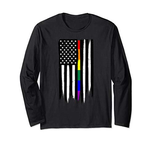 LGBT Gay Pride Thin Line American Flag Long Sleeve T-Shirt