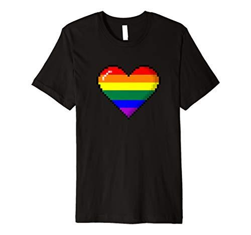 LGBT Rainbow Pride 8-Bit Pixel Heart Premium T-Shirt