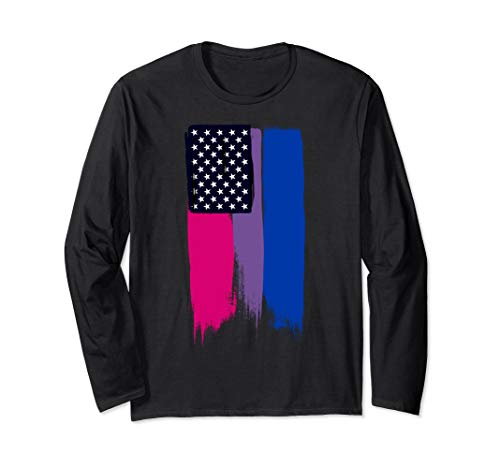 Bisexual Pride Flag Stars and Stripes Long Sleeve T-Shirt