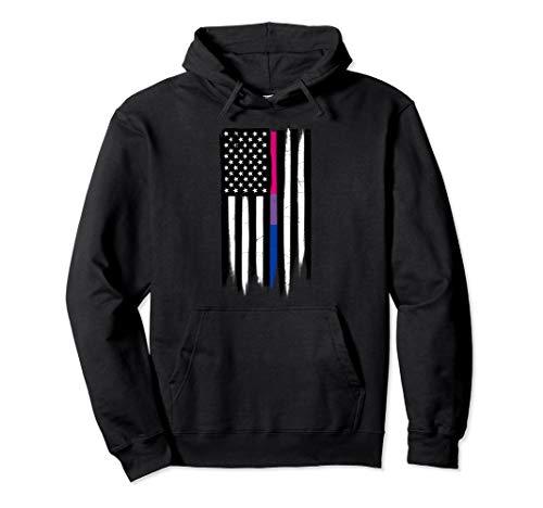 Bisexual Pride Thin Line American Flag Pullover Hoodie