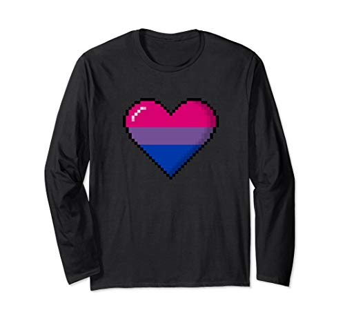 Bisexual Pride 8-Bit Pixel Heart Long Sleeve T-Shirt