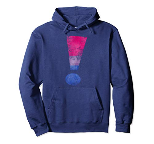Distressed Bisexual Pride Exclamation Point Pullover Hoodie