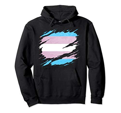Transgender Pride Flag Ripped Pullover Hoodie