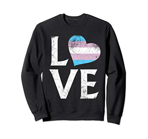 Transgender Pride Flag Heart Stacked Love Sweatshirt