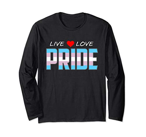 Live Love Pride - Transgender Pride Flag Long Sleeve T-Shirt