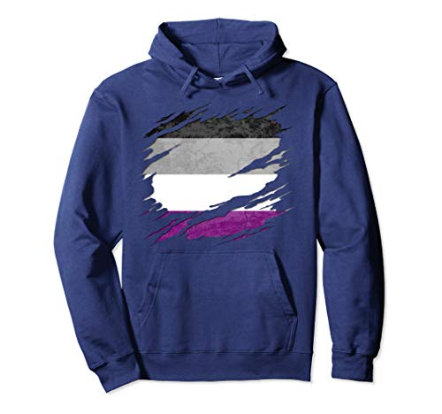 Asexual Pride Flag Ripped Pullover Hoodie