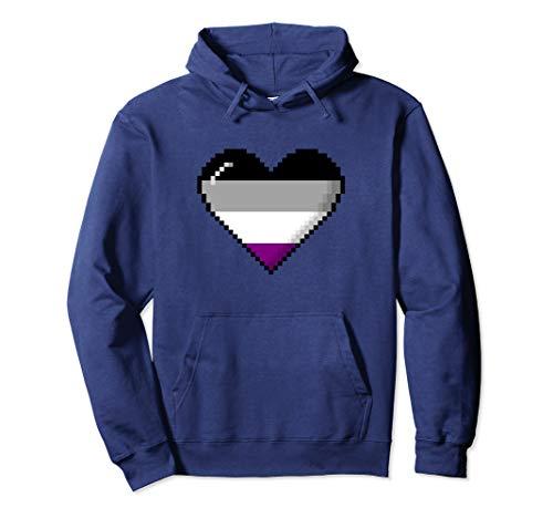 Asexual Pride 8-Bit Pixel Heart Pullover Hoodie