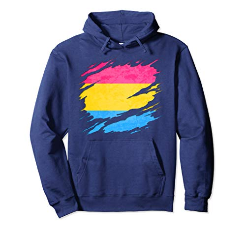 Pansexual Pride Flag Ripped Pullover Hoodie