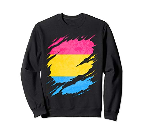 Pansexual Pride Flag Ripped Sweatshirt