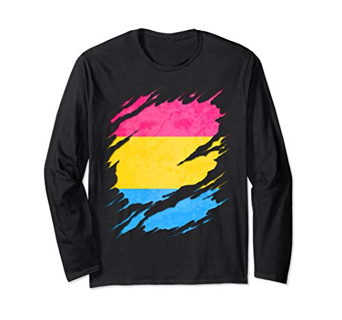 Pansexual Pride Flag Ripped Long Sleeve T-Shirt