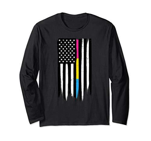 Pansexual Pride Thin Line American Flag Long Sleeve T-Shirt