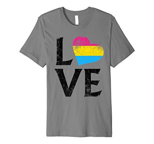 Pansexual Pride Flag Heart Stacked Love Premium T-Shirt