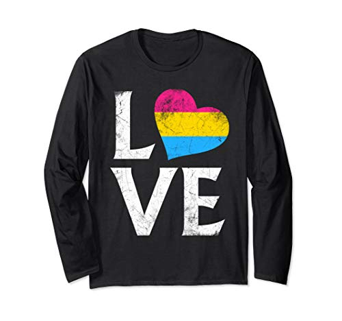 Pansexual Pride Flag Heart Stacked Love Long Sleeve T-Shirt
