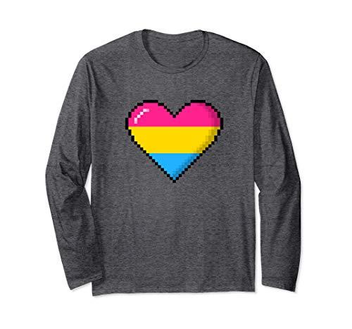 Pansexual Pride 8-Bit Pixel Heart Long Sleeve T-Shirt